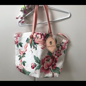 NWT Wildfox white pink floral canvas tote purse